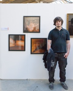 Erik Niemz in front of his work 'Preservations' at Free Range 2012
