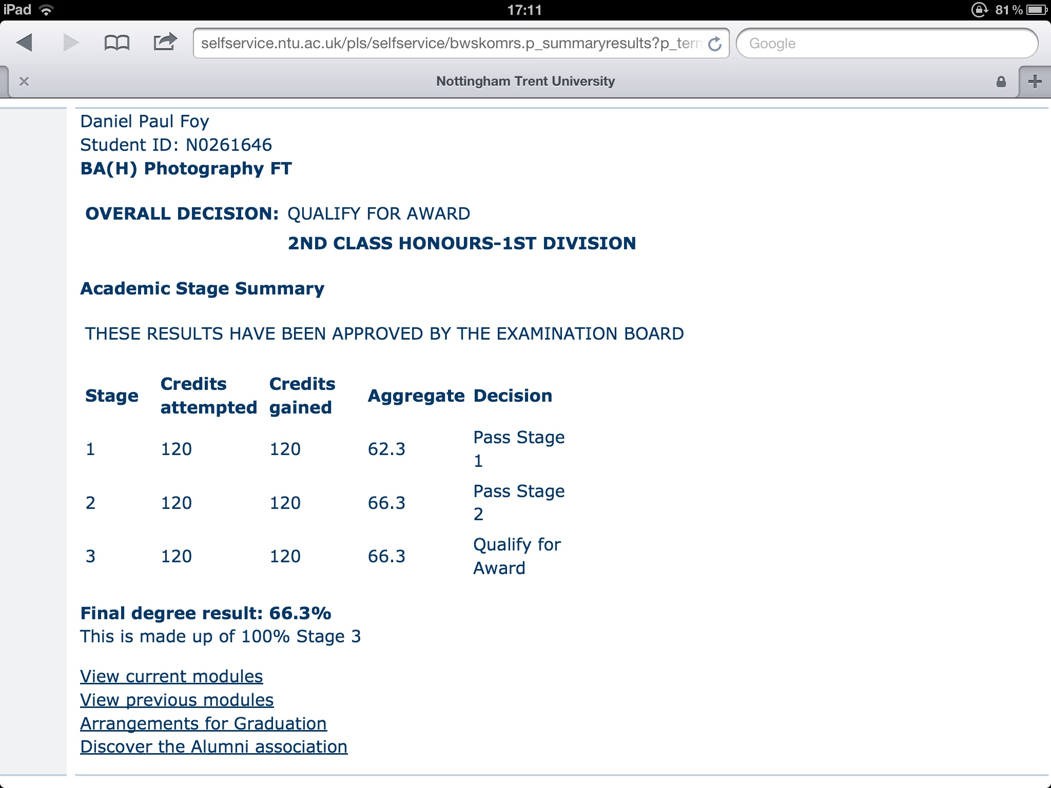 My results on NTU's NOW system